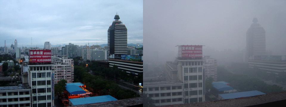 北京雾霾和雨后比较
